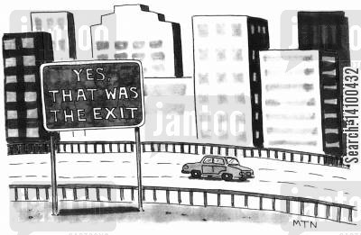 navigating cartoon humor: Yes, That Was The Exit