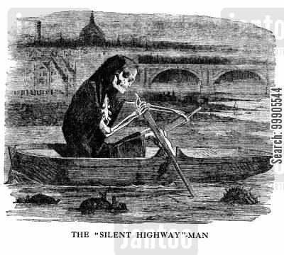 disease cartoon humor: The Silent Highwayman on the Filthy Thames