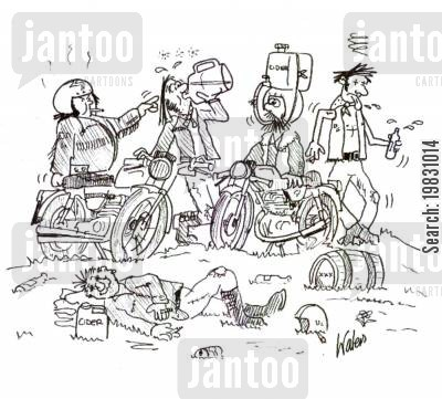 home brew cartoon humor: Bikers.