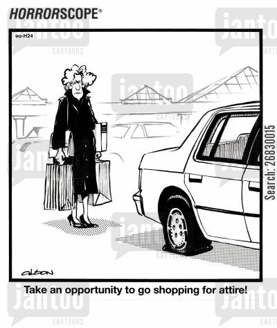 flat tyres cartoon humor: Take an opportunity to go shopping for attire!