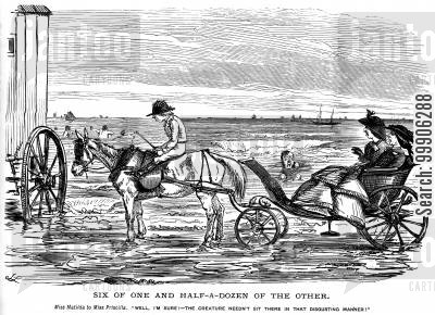 sand cartoon humor: Two women in a horse and buggy at the seaside.