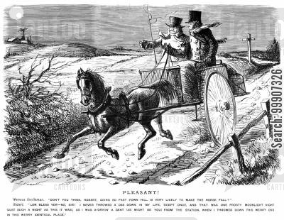 horseriding cartoon humor: A cab driver acting recklessly