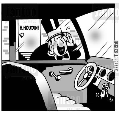 keys locked in car cartoon humor: Houdini's car keys.