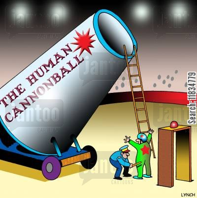 human cannonball cartoon humor: Airport security for the Human Cannonball.