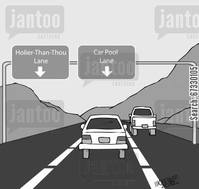 car pool cartoon humor: 'Holier-Than-Thou Lane'