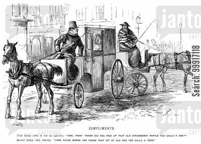 hansom cab cartoon humor: Cab drivers exchange insults after bumping into each other.