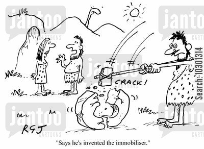 stone age man cartoon humor: Says he's invented the immobiliser.