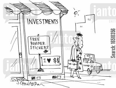 sticker cartoon humor: Investments free bumper stickers read 'I Love $'.