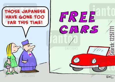 japanese car cartoon humor: 'Those Japanese have gone too far this time!'