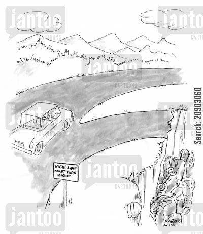 pits cartoon humor: Right lane: Must turn right (Right lane leads into a pit).