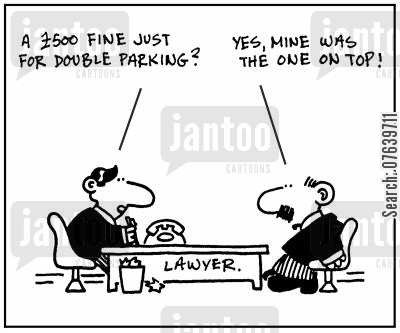parking fines cartoon humor: 'A £500 fine just for double parking?' - 'Yes, mine was the one on top.'