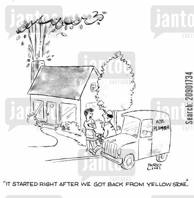 sprung leak cartoon humor: 'It started right after we got back from Yellowstone.'
