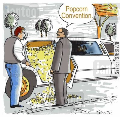 limo cartoon humor: Popcorn Convention.