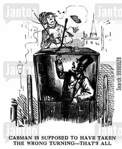 hansom cab cartoon humor: Cabman Takes a Wrong Turning