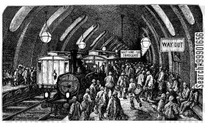 victorian working classes cartoon humor: Workers board the Underground Train