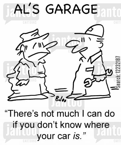 lost car cartoon humor: 'There's not much I can do if you don't know where your car is.'