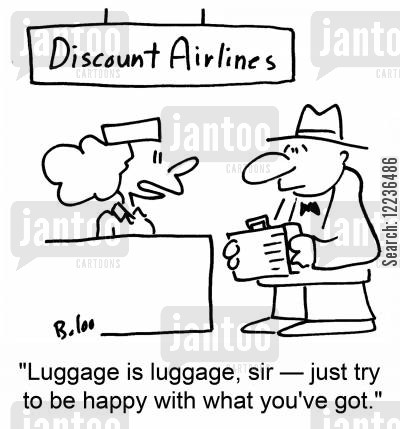 lost bags cartoon humor: 'Luggage is luggage, sir -- just try to be happy with what you've got.'
