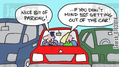 tight spaces cartoon humor: Nice bit of parking! If you don't mind not getting out of the car!