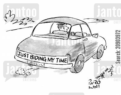 honeymoon car cartoon humor: Car has 'Just biding my time' written across the back as single man drives.