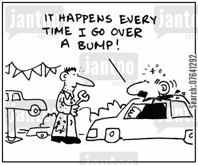 pothole cartoon humor: 'It happens every time I go over a bump.'