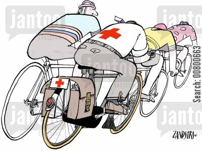 bike riding cartoon humor: Medical bike.