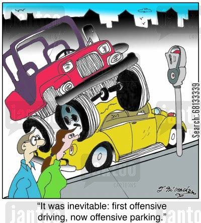 monster trucks cartoon humor: 'It was inevitable: first offensive driving, now offensive parking.'