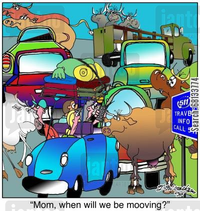 rural roads cartoon humor: 'Mom, when will we be mooving?'