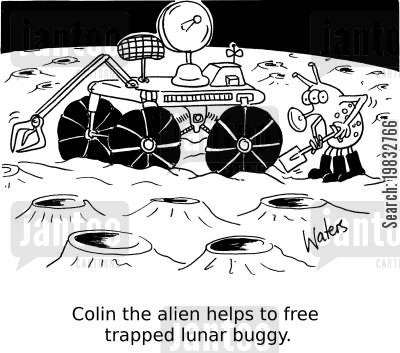 moon landings cartoon humor: Colin the alien helps to free frapped lunar buggy.