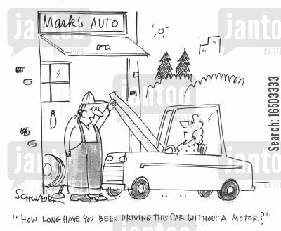 female drivers cartoon humor: 'How long have you been driving this car without a motor?'