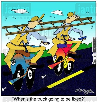 building materials cartoon humor: When's the truck going to be fixed?