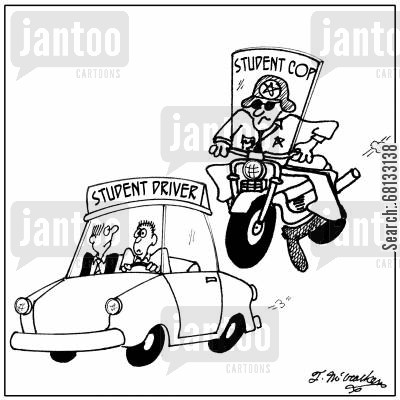 trainee cartoon humor: An officer on a motorcycle with 'Student Cop' sign chases a car with a 'Student Driver' sign.