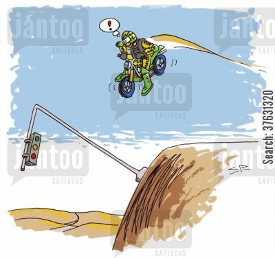 offroad cartoon humor: Motorcycle jumps traffic light,