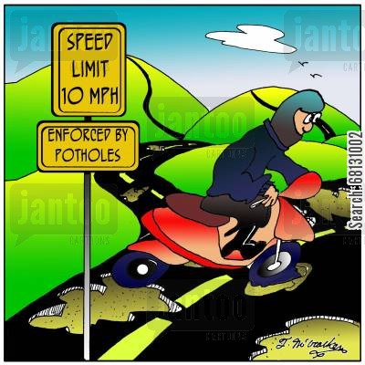 road surfaces cartoon humor: Speed Limit 10 MPH. Enforced by Potholes.