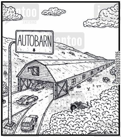 stall cartoon humor: An Autobahn in the form of a farm barn.