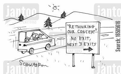 scamming cartoon humor: 'Rethinking our concept' No exit, next 3 exits...