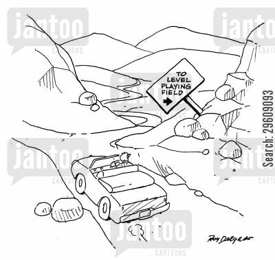 hills cartoon humor: To level playing field.