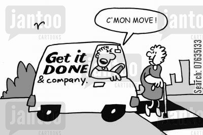 pedestrian crossings cartoon humor: C'mon, move!