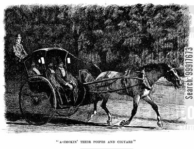 hansom cab cartoon humor: Trilby - 'A-smokin' their poipes and cigyars'.