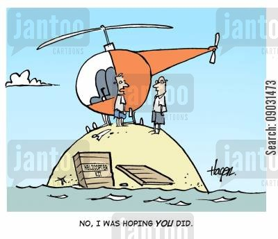 helicopers cartoon humor: 'No, I was hoping YOU did.'