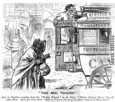 old hag cartoon humor: Old woman about to get on a bus