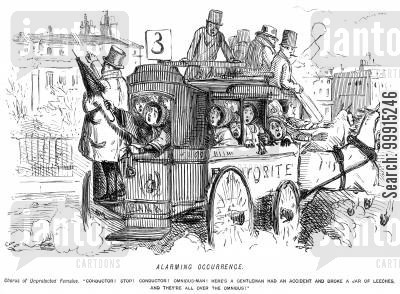 conductors cartoon humor: Women panicking on an omnibus because a jar of leeches has broken