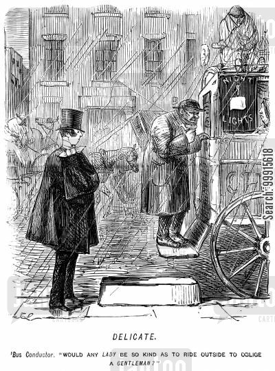 conductors cartoon humor: Omnibus conducter asking if any lady would sit outside to make room for a gentleman