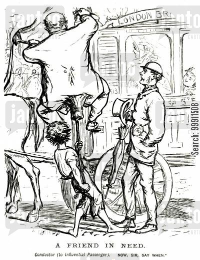conductors cartoon humor: Passenger being helped on top of a bus