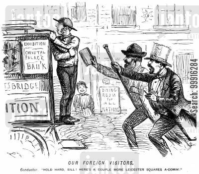 frenchmen cartoon humor: Omnibus conductor refering to foreign passengers as 'a couple more Leicester Squares'
