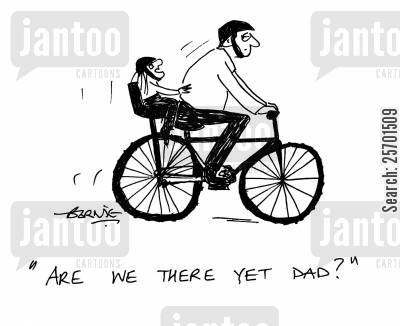 cycle cartoon humor: 'Are we there yet Dad?'