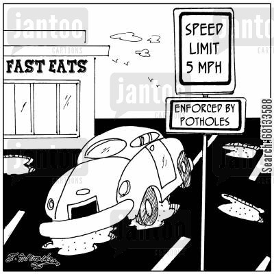 pothole cartoon humor: Speed Limit 5 MPH. Enforced by Potholes.