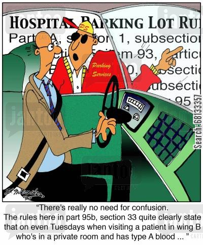 hospital parking cartoon humor: 'There's really no need for confusion... '