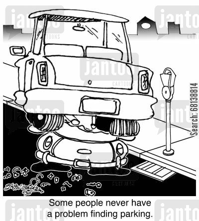 traffic congestion cartoon humor: Some people never have a problem finding parking.