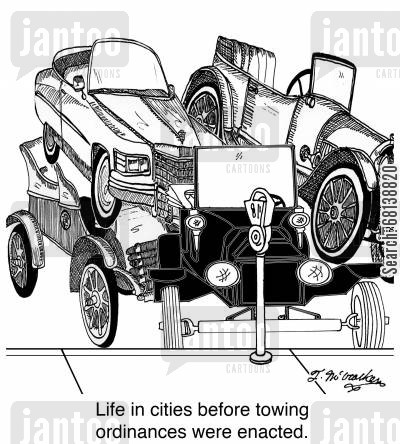 traffic congestion cartoon humor: Life in cities before towing ordinances were enacted.