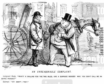 hansom cab cartoon humor: A fat passenger is charged for an extra person by a cabby.
